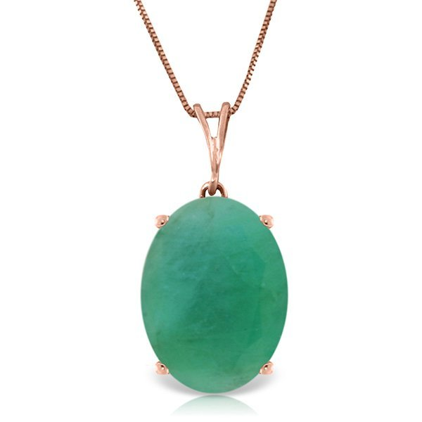 Genuine 6.5 ctw Emerald Necklace Jewelry 14KT Rose Gold