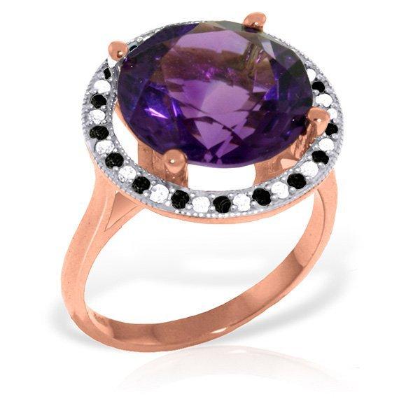 Genuine 6.2 ctw Amethyst, White & Black Diamond Ring