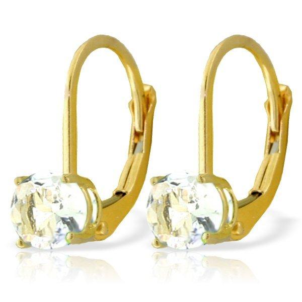 Genuine 1.20 ctw Aquamarine Earrings Jewelry 14KT