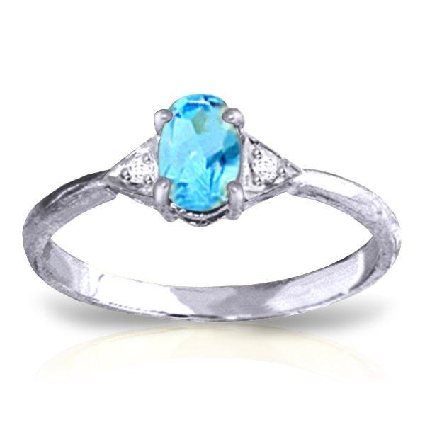 Genuine 0.46 ctw Blue Topaz & Diamond Ring Jewelry 14KT