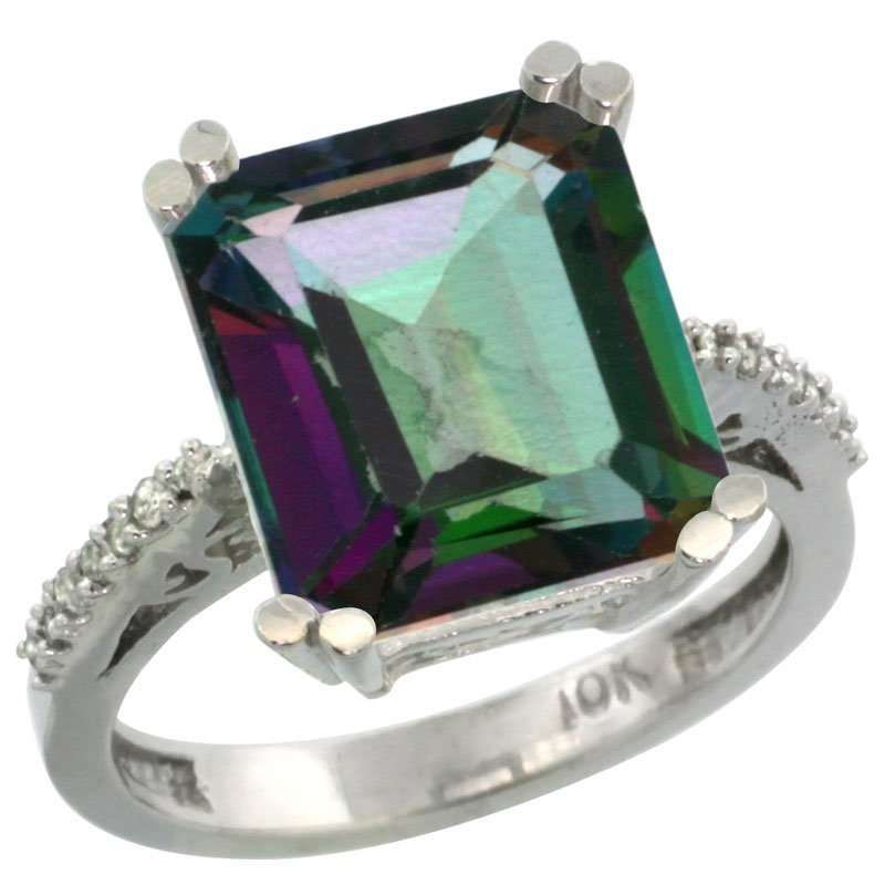 Natural 5.48 ctw Mystic-topaz & Diamond Engagement Ring