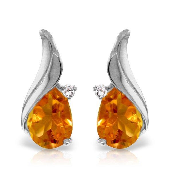 Genuine 3.26 ctw Citrine & Diamond Earrings Jewelry