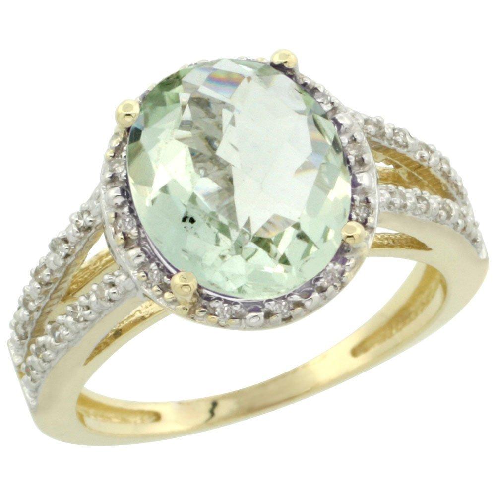Natural 3.47 ctw Green-amethyst & Diamond Engagement