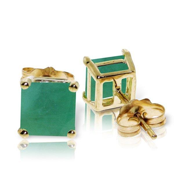 Genuine 2.9 ctw Emerald Earrings Jewelry 14KT Yellow