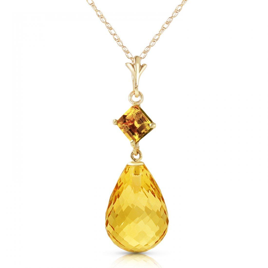 Genuine 5.5 ctw Citrine Necklace Jewelry 14KT Yellow