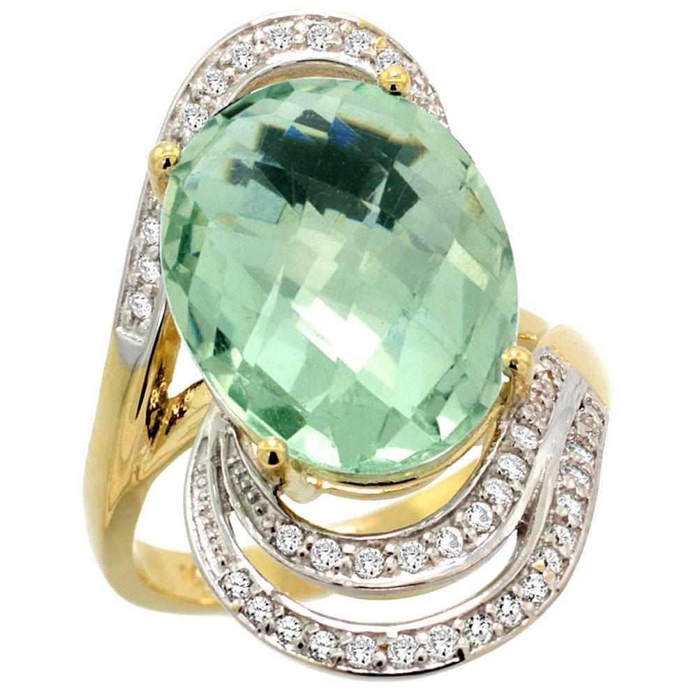 Natural 11.2 ctw green-amethyst & Diamond Engagement