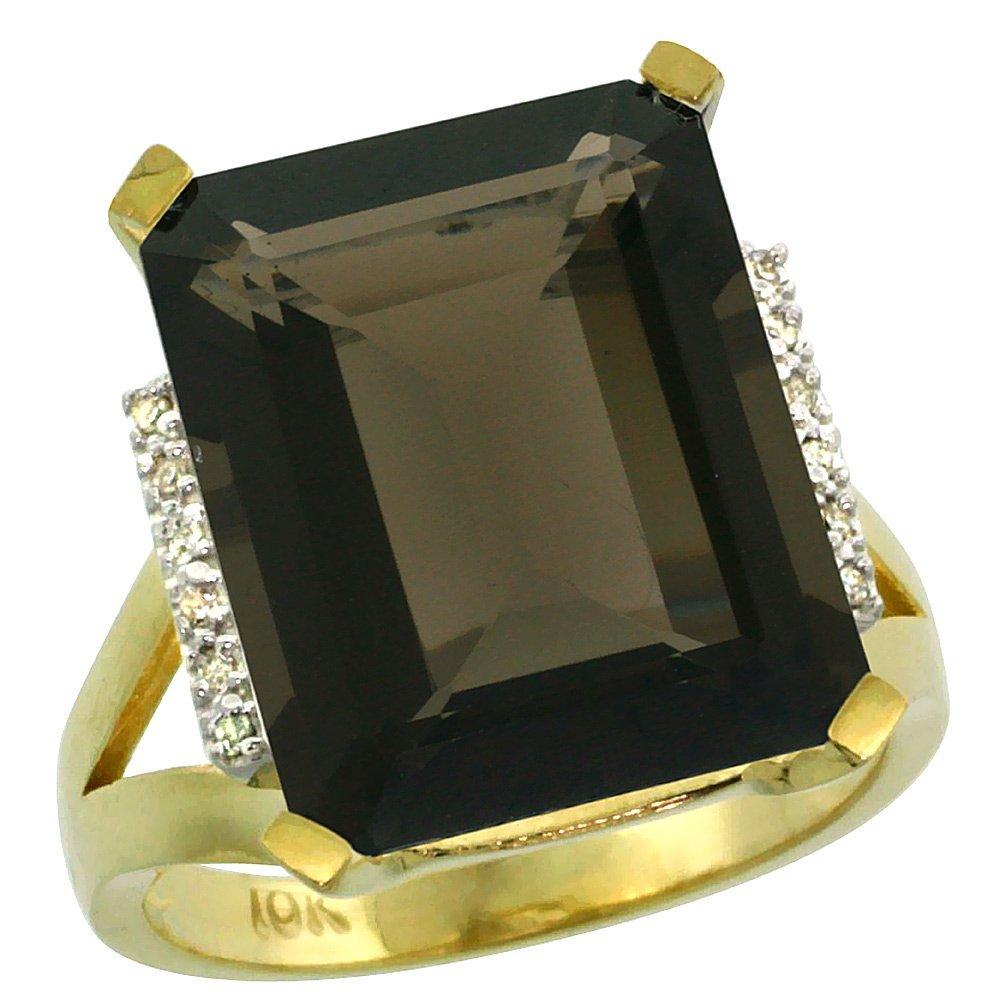 Natural 12.13 ctw Smoky-topaz & Diamond Engagement Ring