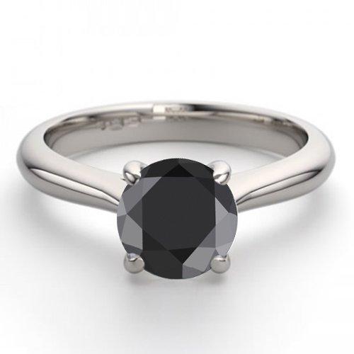 14K White Gold Jewelry 0.91 ctw Black Diamond Solitaire