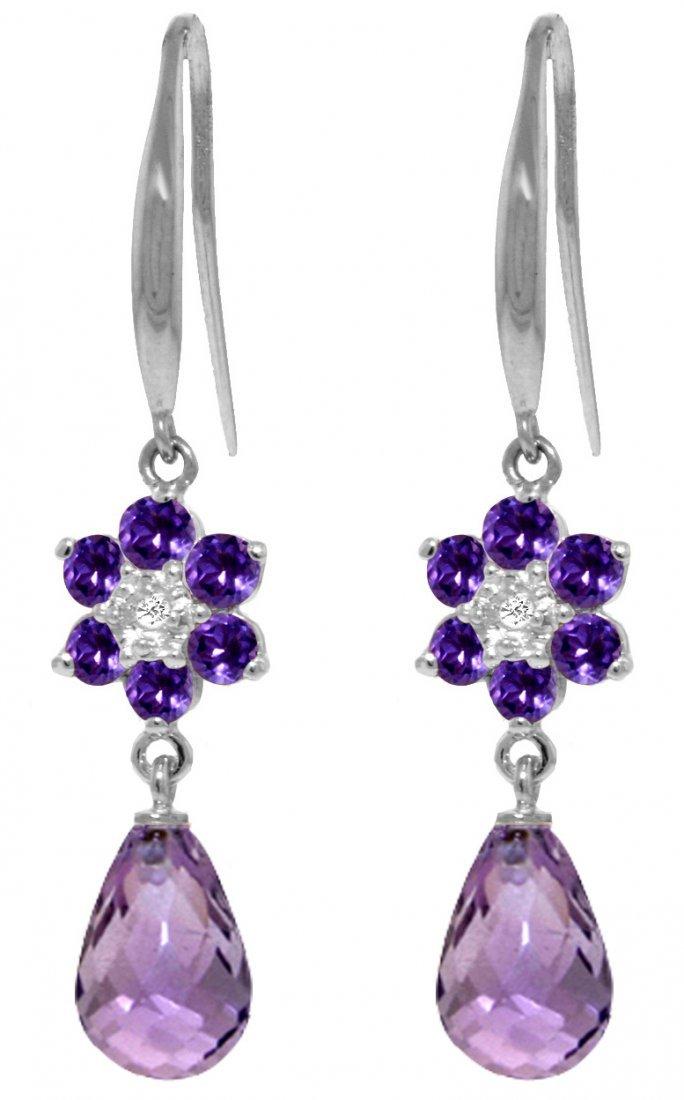 Genuine 5.51 ctw Amethyst & Diamond Earrings Jewelry