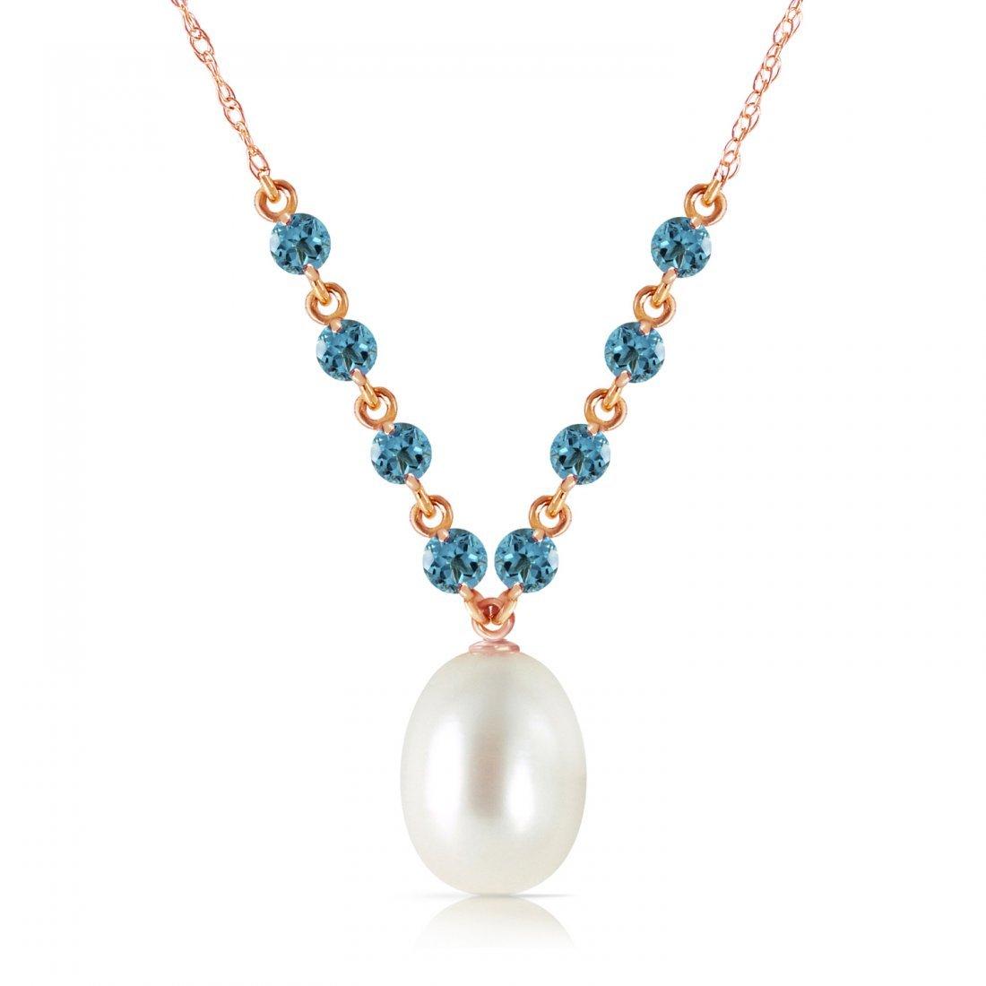 Genuine 5 ctw Blue Topaz Necklace Jewelry 14KT Rose