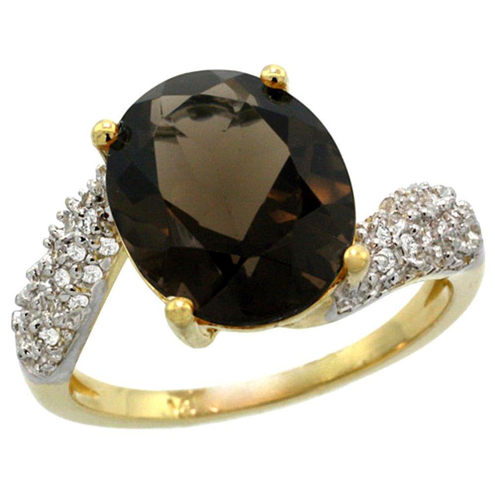 Natural 6.45 ctw smoky-topaz & Diamond Engagement Ring