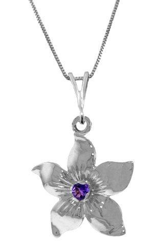 Genuine 0.10 CTW Amethyst Necklace Jewelry 14KT White