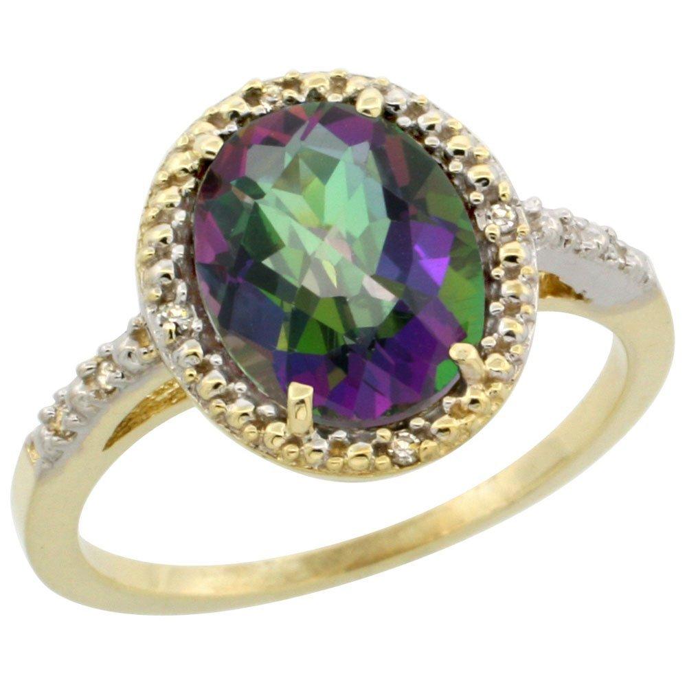 Natural 2.42 ctw Mystic-topaz & Diamond Engagement Ring