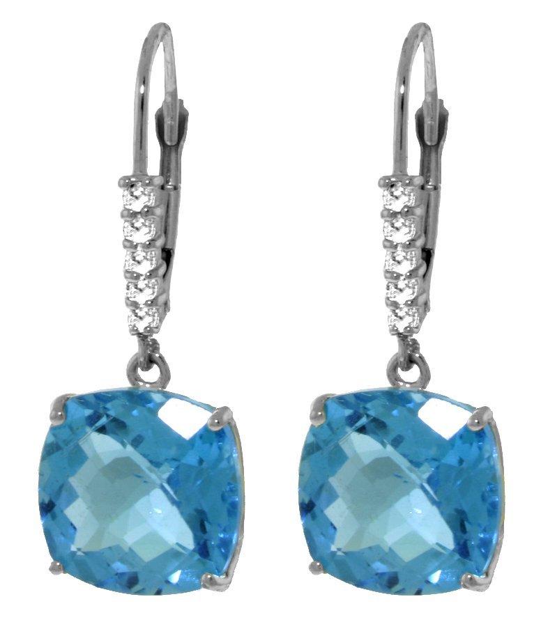 Genuine 7.35 ctw Blue Topaz & Diamond Earrings Jewelry