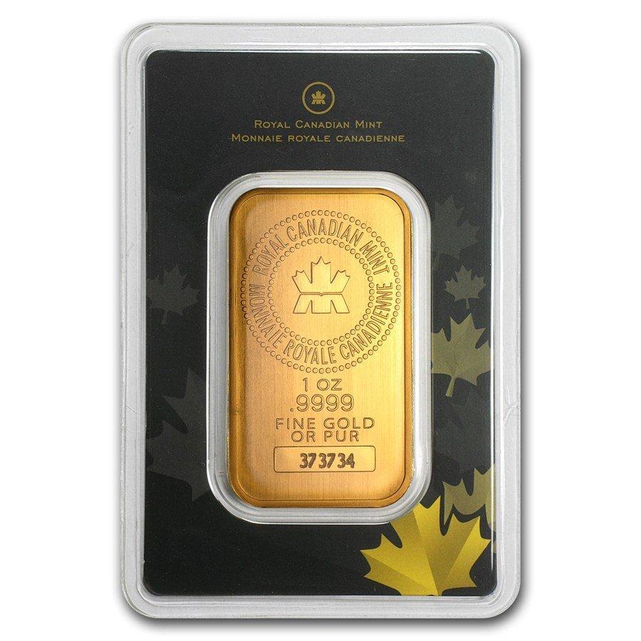One pc. 1 oz .9999 Fine Gold Bar - Royal Canadian Mint