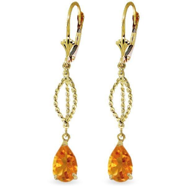 Genuine 3 ctw Citrine Earrings Jewelry 14KT Yellow Gold