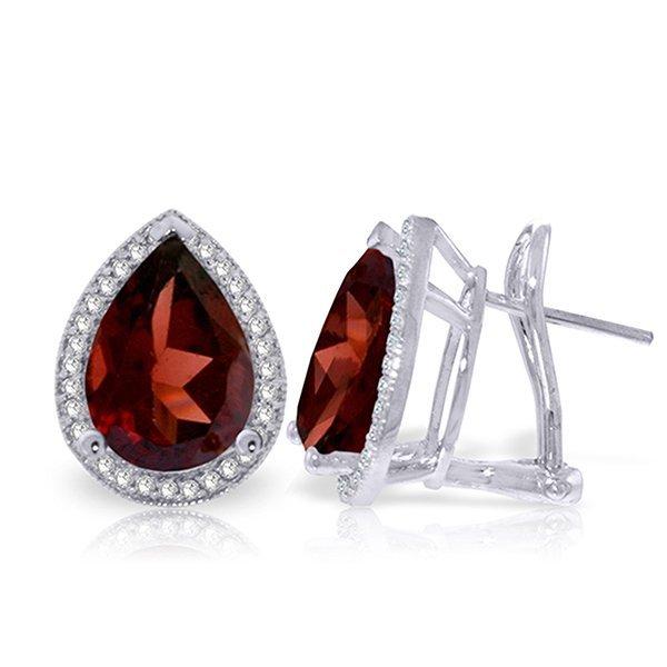 Genuine 8.12 ctw Garnet & Diamond Earrings Jewelry 14KT