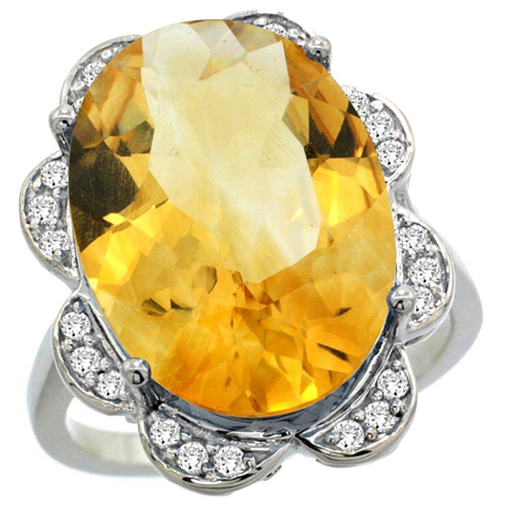 Natural 13.83 ctw citrine & Diamond Engagement Ring 14K