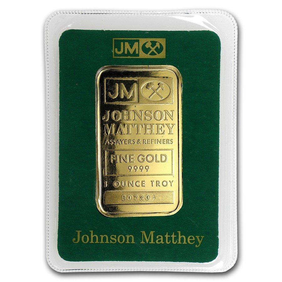 One pc. 1 oz .9999 Fine Gold Bar - Johnson Matthey In