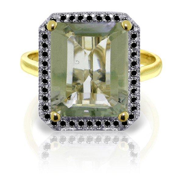 Genuine 5.8 ctw Green Amethyst & Black Diamond Ring