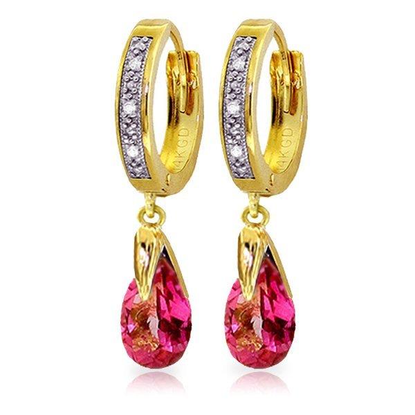 Genuine 2.53 ctw Pink Topaz & Diamond Earrings Jewelry