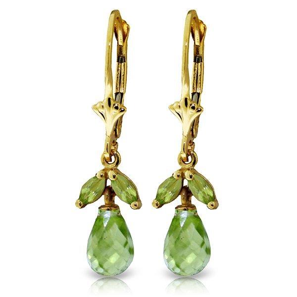 Genuine 3.4 ctw Peridot Earrings Jewelry 14KT Yellow