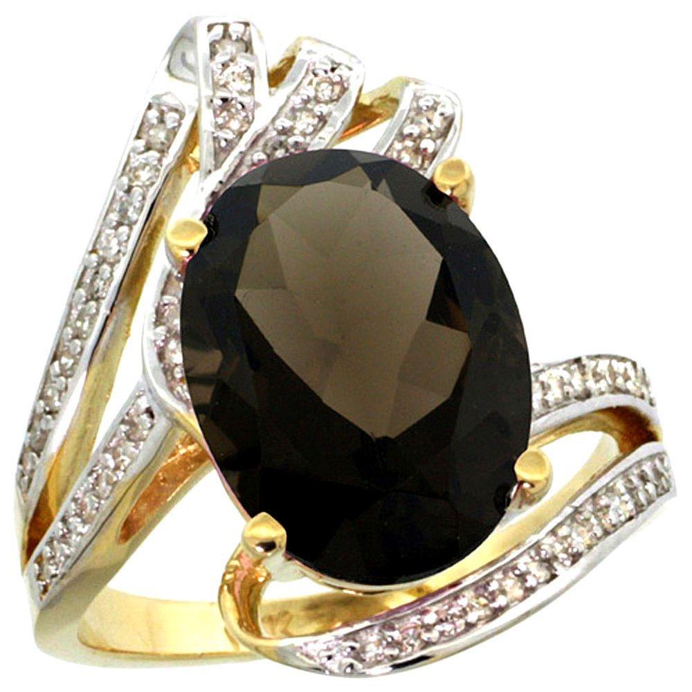Natural 5.76 ctw smoky-topaz & Diamond Engagement Ring