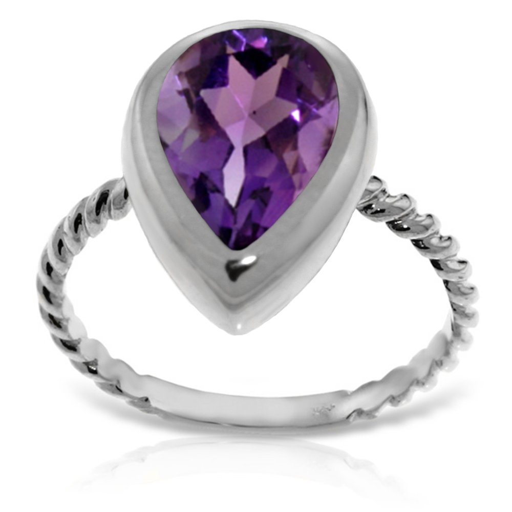 Genuine 2.5 ctw Amethyst Ring Jewelry 14KT White Gold -