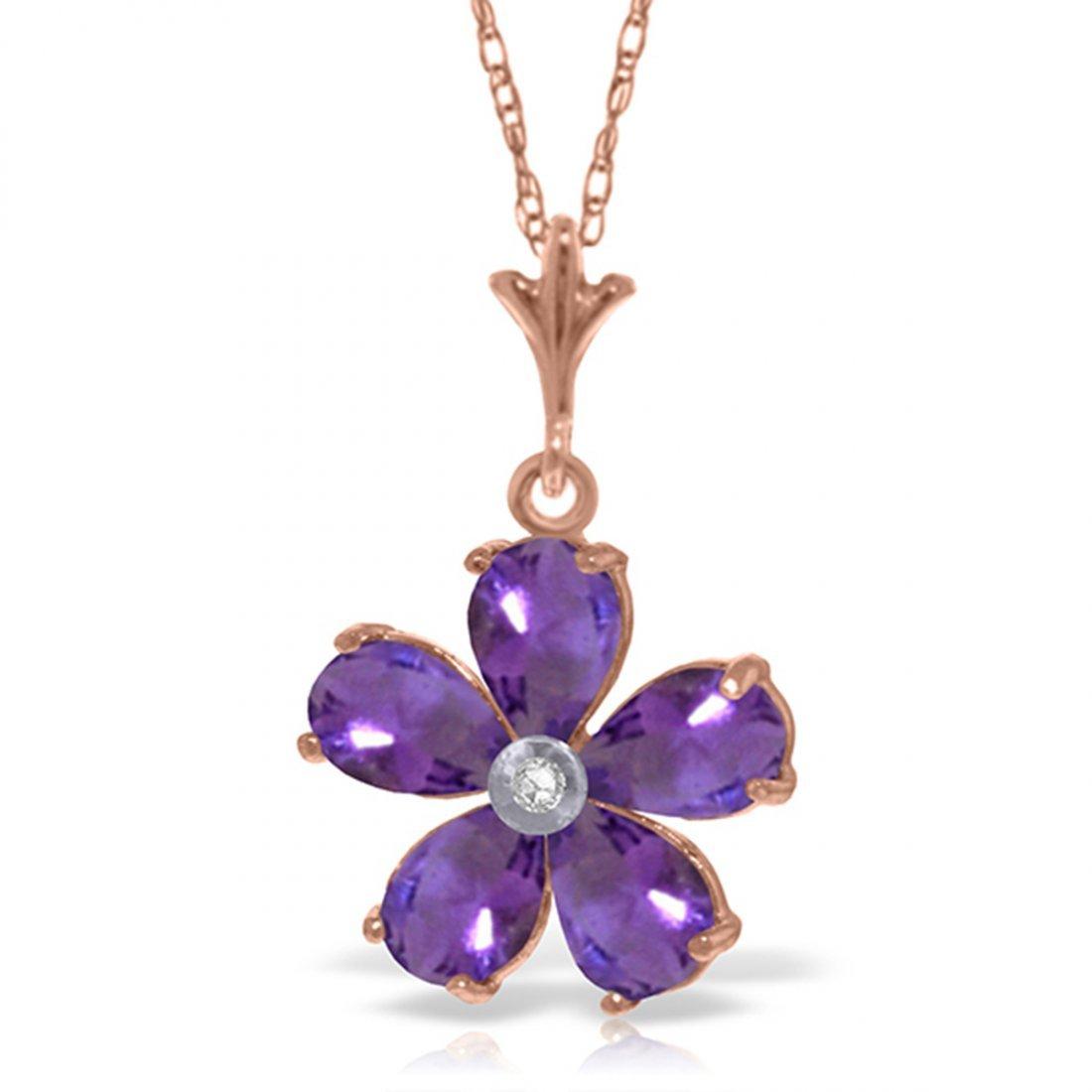 Genuine 2.22 ctw Amethyst & Diamond Necklace Jewelry