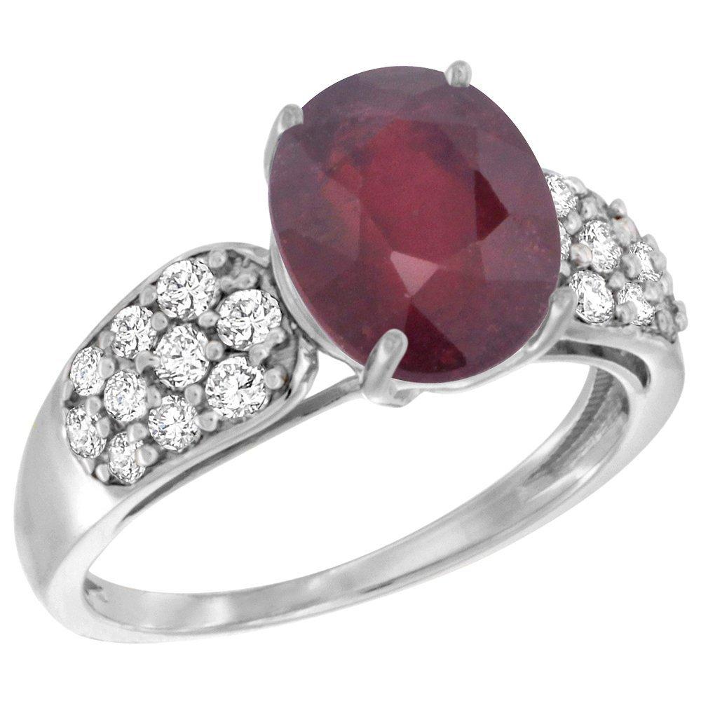 Natural 3.99 ctw ruby & Diamond Engagement Ring 14K