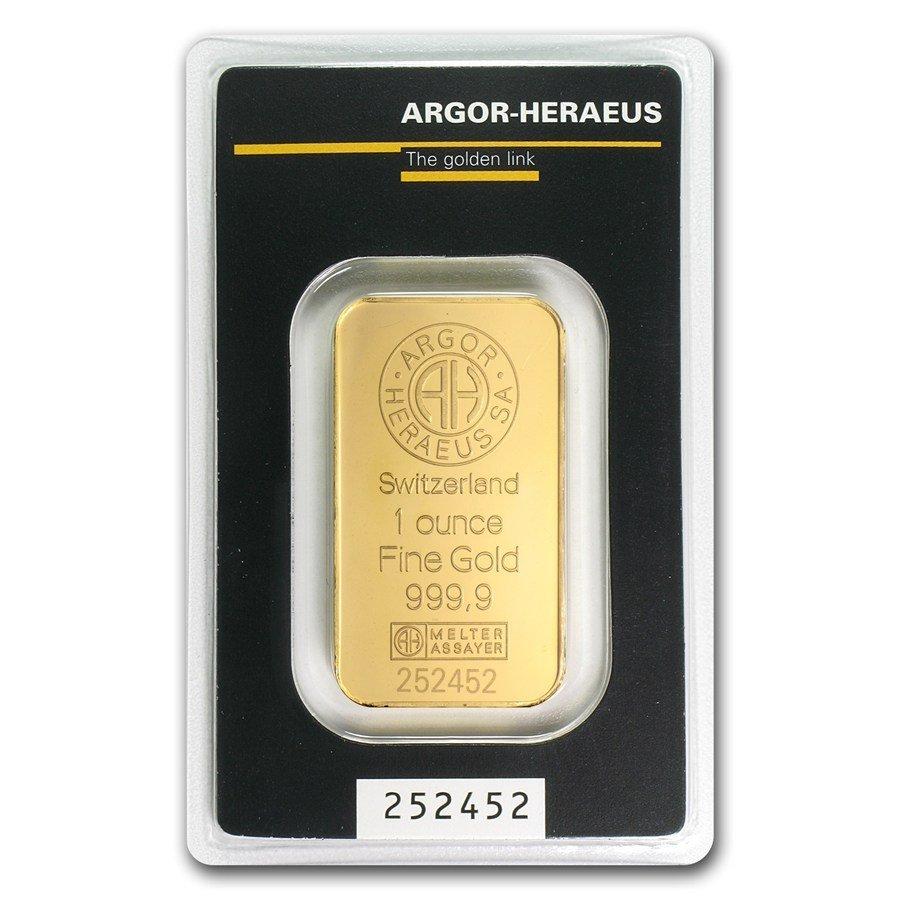 One pc. 1 oz .9999 Fine Gold Bar - Argor-Heraeus in