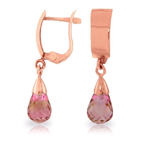 Genuine 2.5 ctw Pink Topaz Earrings Jewelry 14KT Rose