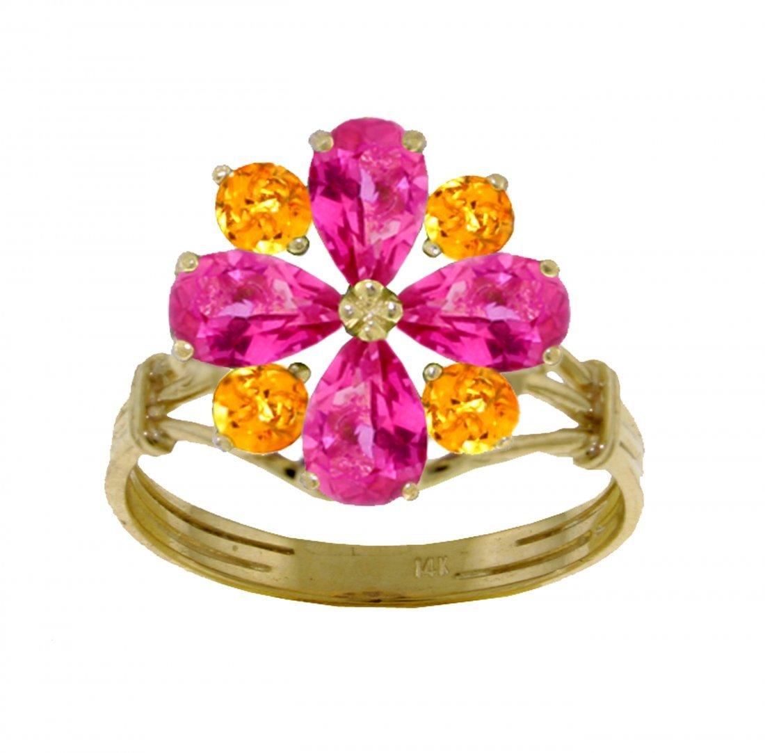 Genuine 2.43 ctw Pink Topaz & Citrine Ring Jewelry 14KT