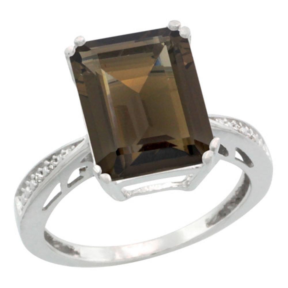 Natural 5.42 ctw Smoky-topaz & Diamond Engagement Ring
