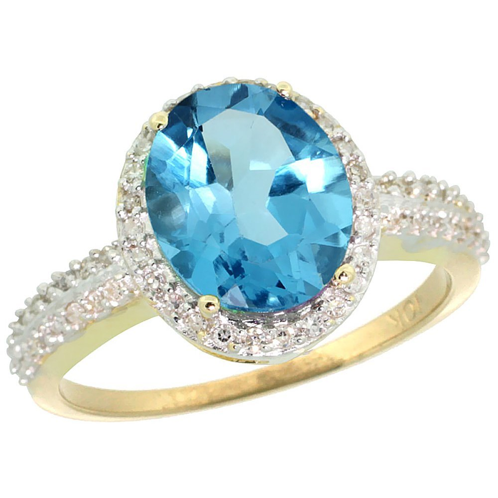 Natural 2.56 ctw Swiss-blue-topaz & Diamond Engagement