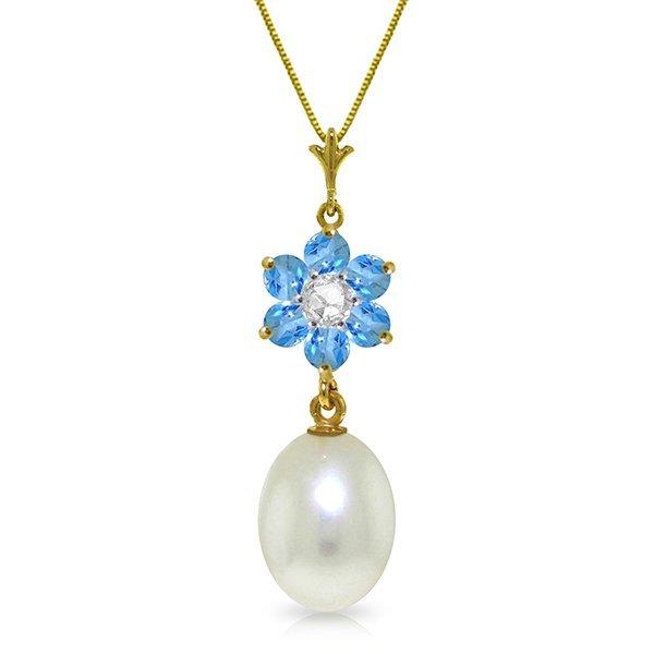 Genuine 4.53 ctw Blue Topaz & Diamond Necklace Jewelry