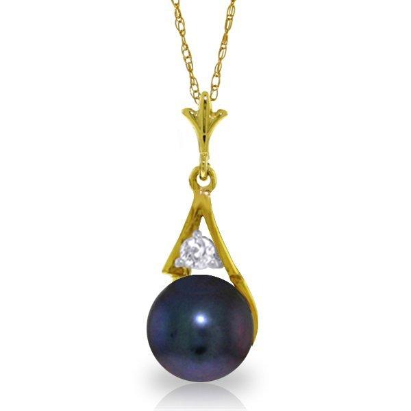 Genuine 2.03 ctw Black Pearl & Diamond Necklace Jewelry