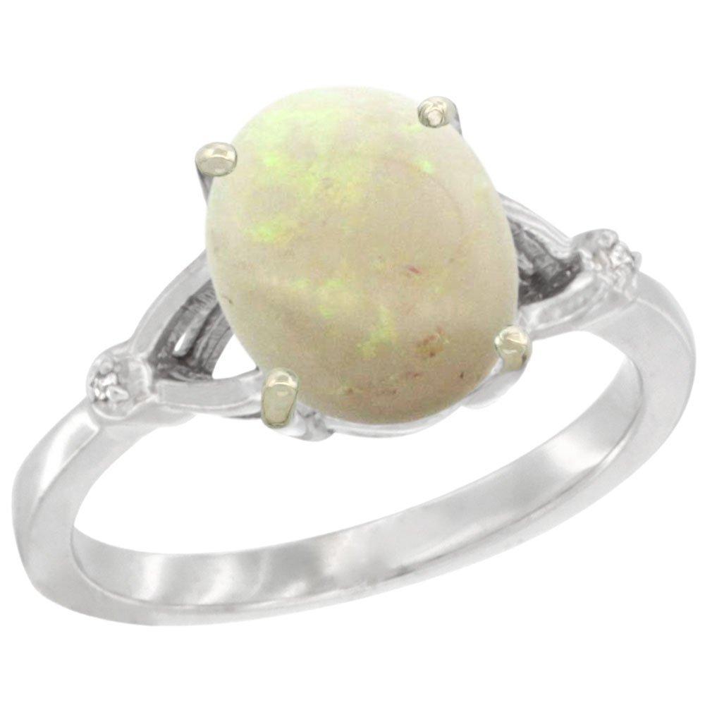 Natural 1.42 ctw Opal & Diamond Engagement Ring 10K