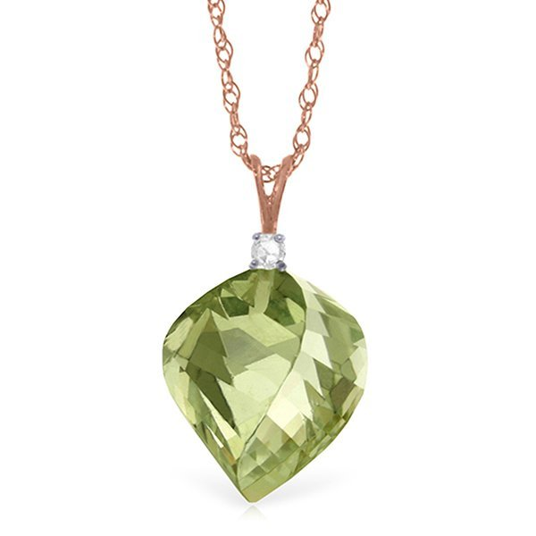 Genuine 13.05 ctw Green Amethyst & Diamond Necklace