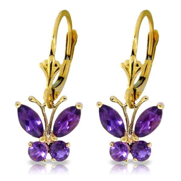 Genuine 1.24 ctw Amethyst Earrings Jewelry 14KT Yellow