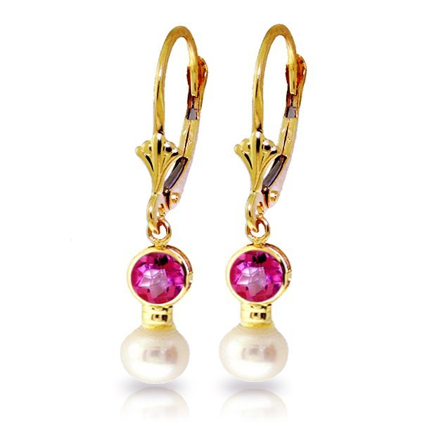 Genuine 2.7 ctw Pink Topaz & Pearl Earrings Jewelry