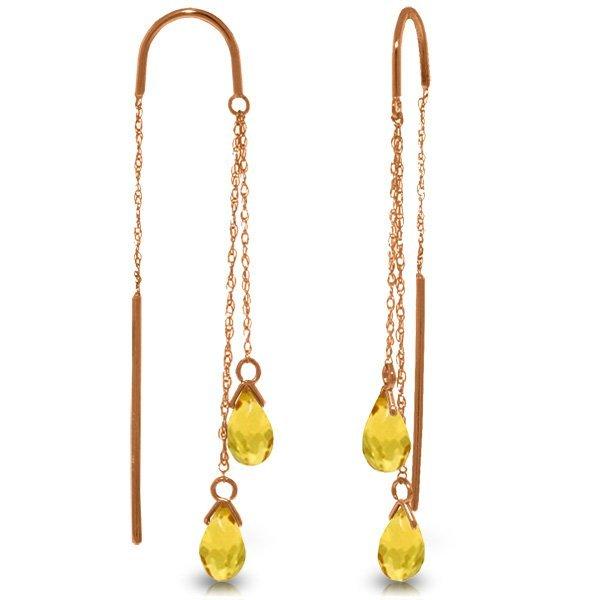 Genuine 2.5 ctw Citrine Earrings Jewelry 14KT Rose Gold