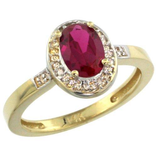 Natural 0.98 ctw Ruby & Diamond Engagement Ring 14K