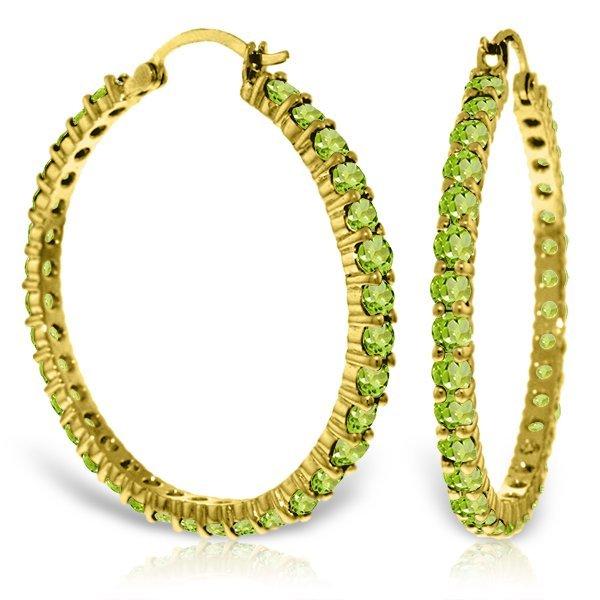 Genuine 6 ctw Peridot Earrings Jewelry 14KT Yellow Gold