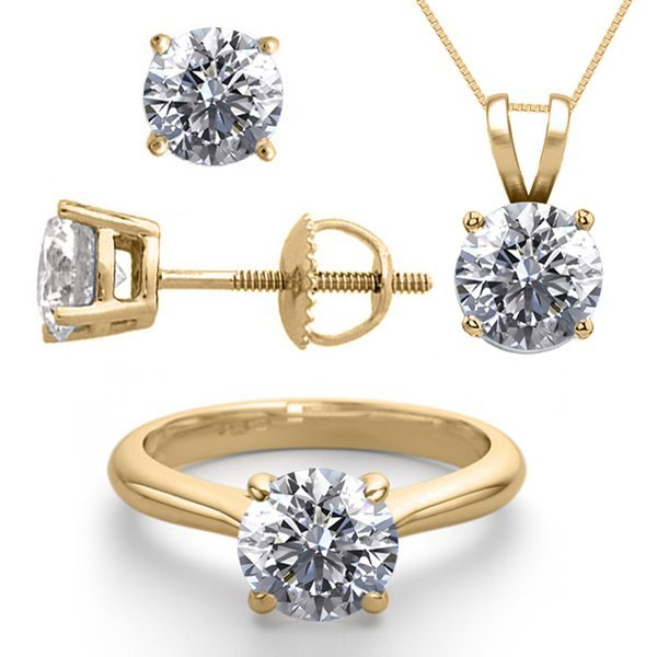 14K Yellow Gold Jewelry SET 6.0CTW Natural Diamond
