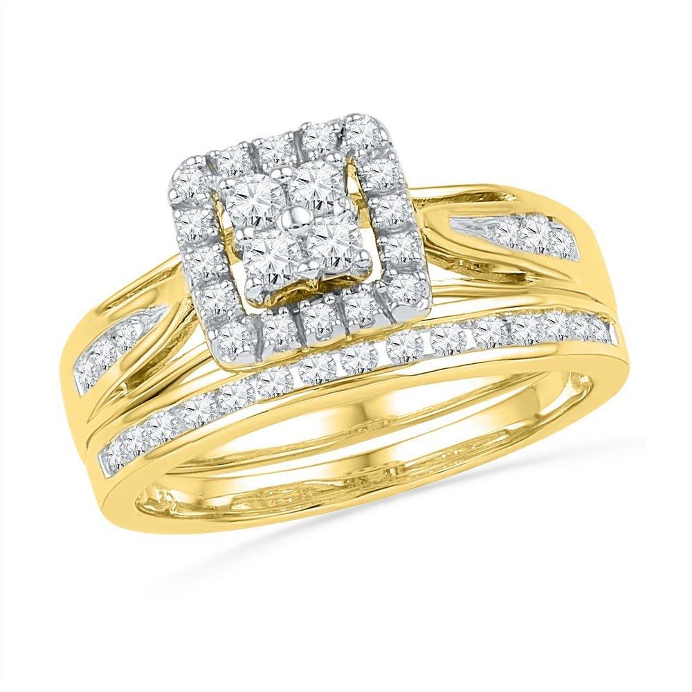 0.50 CTW Diamond Bridal Set Ring 10KT Yellow Gold -