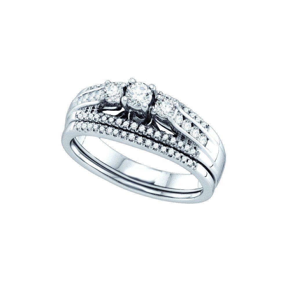 0.50 ctw Diamond Bridal Set Ring 14K White Gold -