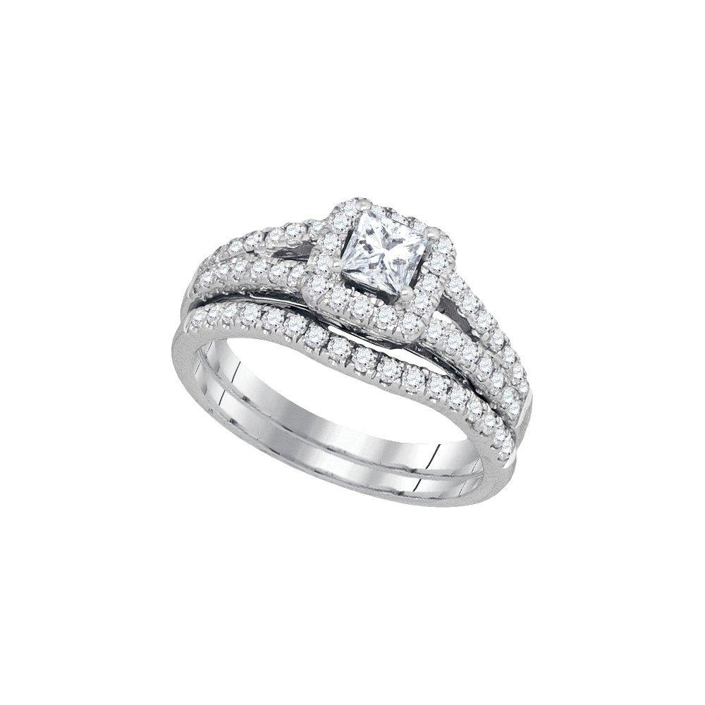 1.0 ctw Diamond Bridal Set Ring 14K White Gold -