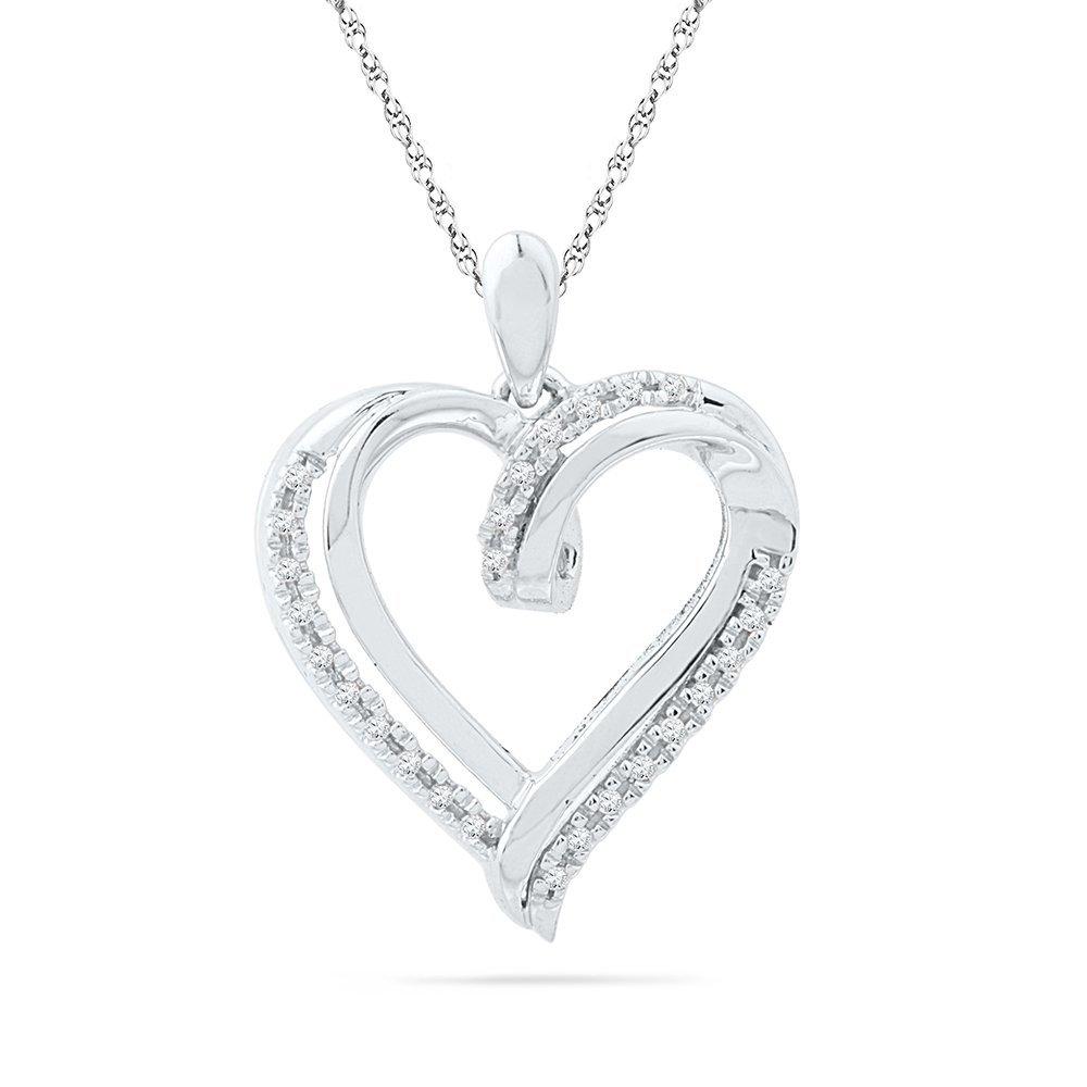 0.10 CTW Diamond Pendant 10KT White Gold -