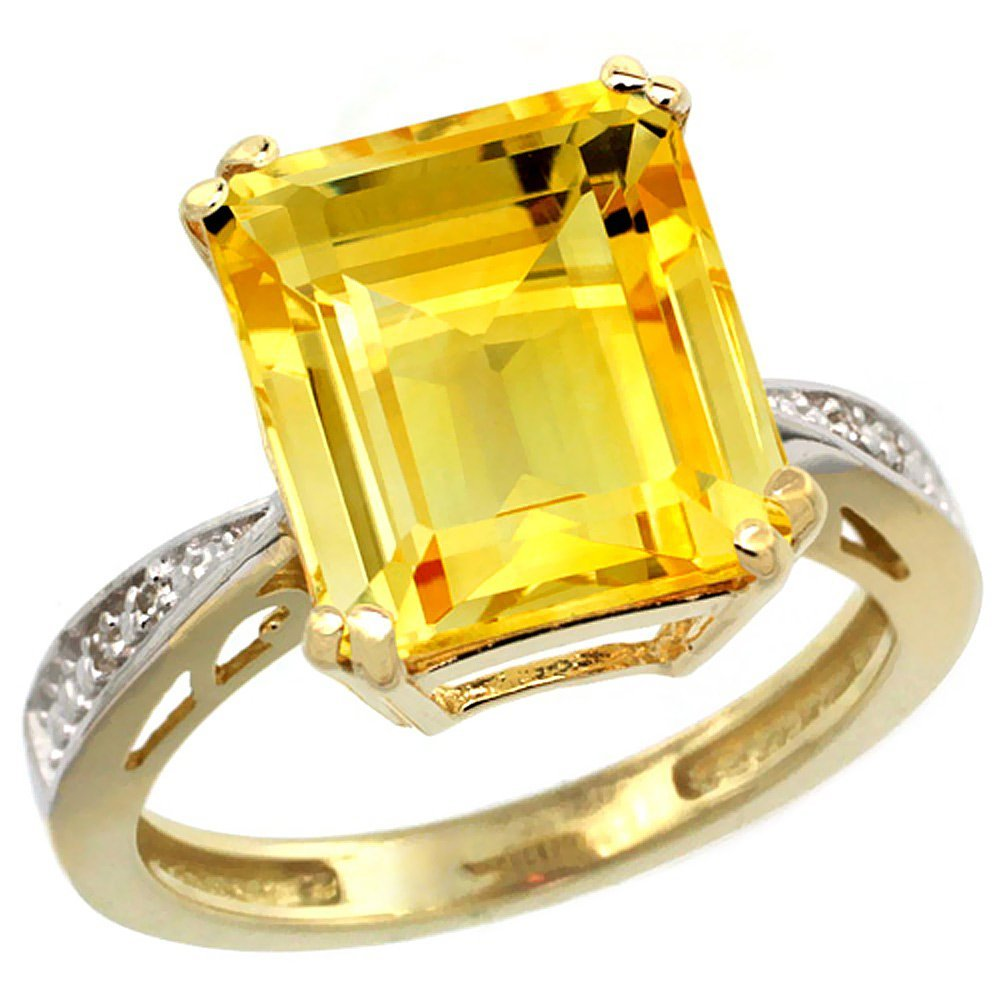 Natural 5.42 ctw Citrine & Diamond Engagement Ring 14K